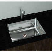 Under-Mount Sink, Stainless Steel, with Strainer Drain, 23''W x 18''D x 10-1/4''H
