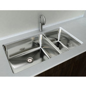 1-1/2 Basin Under-Mount Sink, 18-Gauge 304-Series Stainless Steel (18/10), 10mm Radius with Strainer Drain, 33''W x 18''D x 10''H