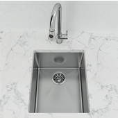 Single Basin Undermount Bar Sink, 10mm Radius, Stainless Steel, 18 Gauge, High Luster Finish, 15-3/4''W x 13-1/4''D x 8''H
