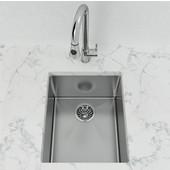Single Basin Undermount Bar Sink, 10mm Radius, Stainless Steel, 18 Gauge, High Luster Finish, 15-3/4''W x 13-1/4''D x 8''H