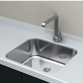 Single Basin Under-Mount Sink, 18-Gauge 304-Series Stainless Steel (18/10), with Strainer Drain, 20''W x 18''D x 8''H