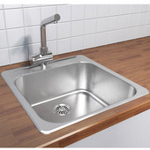 Stainless Steel Single Bowl Overmount Kitchen Sink, 304 Stainless Steel, 18 gauge, 20''W x 20-1/2''D x 8''H