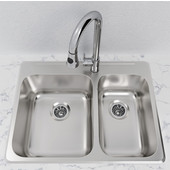Stainless Steel Overmount Kitchen Sink, 304 Stainless Steel, 27-1/4''W x 20-1/2''D x 8''H