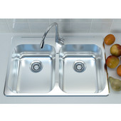 Stainless Steel Double Bowl Overmount Kitchen Sink, 304 Stainless Steel, 19 gauge, 31-1/4''W x 20-1/2''D x 7-1/2''H