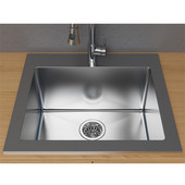 Single Basin Topmount Laundry Utility Sink, Stainless Steel, 25''W x 22''D x 11-7/8''H