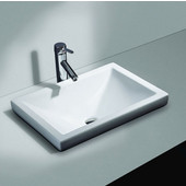 Vitreous China Semi Recessed Bathroom Sink with Overflow, 21''W X 14-3/4''D x 6''H