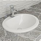 Round Ceramic Bathroom Sink with Single Hole Deck Mounting, 20-1/8''W x 17-3/8''D x 7-5/8''H