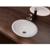 Vitreous China Drop-In Sink with Overflow, 17-1/2''W x 15''D x 7-1/4''H