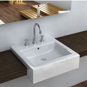 Vitreous China Semi Cassa Bathroom Sink with Overflow & Three Holes, 20-1/4''W x 19-1/2''D x 6-1/2''H