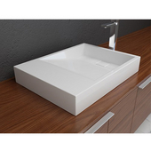 Above Counter Bathroom Sink with Overflow and Pre-Drilled Hole, Solidtech Surface, 24'' W x 18'' D x 4'' H, White Matte
