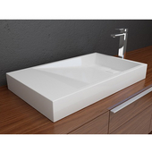 Above Counter Bathroom Sink with Overflow and Pre-Drilled Hole, Solidtech Surface, 30'' W x 18'' D x 4'' H, White Matte