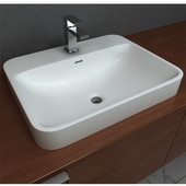 Semi-Recessed Bathroom Sink, with Rounded Edges, Solidtech Surface, 23''W x 18-1/8''D x 6-7/8''H, White