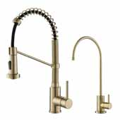 KRAUS Bolden™ Commercial Style Pull-Down Kitchen Faucet and Purita™ Water Filter Faucet Combo in Brushed Gold