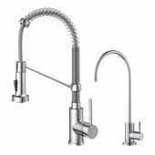 Bolden Commercial Style Pull-Down Kitchen Faucet and Water Filter Combo in Chrome