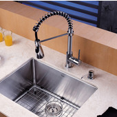 Chrome Pull Out Sprayer Kitchen Faucet with Dual Pull-out Spray Head and Soap Dispenser, Chrome