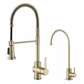 Britt Commercial Style Kitchen Faucet and Purita Water Filter Combo in Brushed Gold