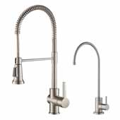 KRAUS Britt™ Commercial Style Kitchen Faucet and Purita™ Water Filter Faucet Combo in Spot-Free Stainless Steel