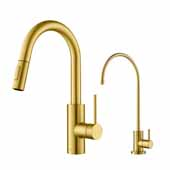 Oletto Pull-Down Kitchen Faucet and Purita Water Filter Combo in Brass