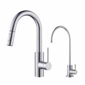 Oletto Pull-Down Kitchen Faucet and Purita Water Filter Combo in Chrome