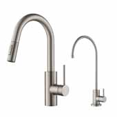 Oletto Pull-Down Kitchen Faucet and Purita Water Filter Combo in Steel