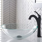 KRAUS 16-1/2'' Crystal Clear Glass Bathroom Vessel Sink and Matte Black Arlo™ Faucet Combo Set with Pop-Up Drain, 16-1/2''Diameter x 5-1/2''H