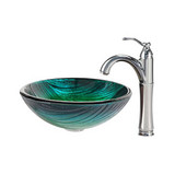 Nature Series Nei Glass Vessel Sink and Riviera Faucet Chrome Set