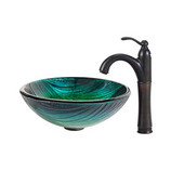 Nature Series Nei Glass Vessel Sink and Riviera Faucet Oil Rubbed Bronze Set