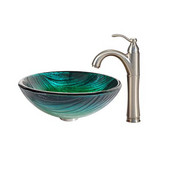 Nature Series Nei Glass Vessel Sink and Riviera Faucet Satin Nickel Set