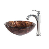 Nature Series Gaia Glass Vessel Sink and Riviera Faucet Chrome Set