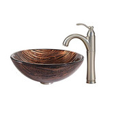 Nature Series Gaia Glass Vessel Sink and Riviera Faucet Satin Nickel Set
