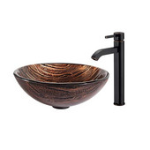 Nature Series Gaia Glass Vessel Sink and Ramus Faucet Oil Rubbed Bronze Set