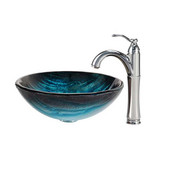 Nature Series Ladon Glass Vessel Sink and Riviera Faucet Chrome Set