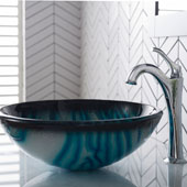 KRAUS 17'' Blue Glass Nature Series™ Bathroom Vessel Sink and Arlo™ Faucet Combo Set with Pop-Up Drain, Chrome Finish, 17''Diameter x 6''H
