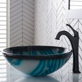 KRAUS 17'' Blue Glass Nature Series™ Bathroom Vessel Sink and Arlo™ Faucet Combo Set with Pop-Up Drain, Oil Rubbed Bronze Finish, 17''Diameter x 6''H
