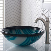 KRAUS 17'' Blue Glass Nature Series™ Bathroom Vessel Sink and Spot Free Arlo™ Faucet Combo Set with Pop-Up Drain, Stainless Brushed Nickel Finish, 17''Diameter x 6''H