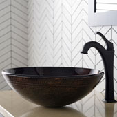 KRAUS 16-1/2'' Copper Brown Bathroom Vessel Sink and Matte Black Arlo™ Faucet Combo Set with Pop-Up Drain, 16-1/2''Diameter x 5-1/2''H