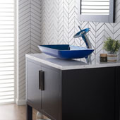KRAUS Rectangular Blue Glass Bathroom Vessel Sink and Waterfall Faucet Combo Set with Matching Disk and Pop-Up Drain, Chrome Finish