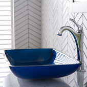 KRAUS 22'' Rectangular Blue Glass Bathroom Vessel Sink and Arlo™ Faucet Combo Set with Pop-Up Drain, Chrome Finish, 21-7/8''W x 13-7/8''D x 4''H