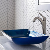 KRAUS 22'' Rectangular Blue Glass Bathroom Vessel Sink and Spot Free Arlo™ Faucet Combo Set with Pop-Up Drain, Stainless Brushed Nickel Finish, 21-7/8''W x 13-7/8''D x 4''H