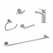 Indy™ Single Handle Bathroom Faucet With 24'' W Towel Bar, Paper Holder, Towel Ring And Robe Hook In Chrome