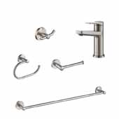 Indy™ Single Handle Bathroom Faucet In Spot-Free Stainless Steel With Matching 24'' W Towel Bar, Paper Holder, Towel Ring And Robe Hook