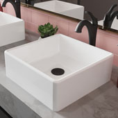 KRAUS Elavo™ 15'' Square White Porcelain Ceramic Bathroom Vessel Sink and Matte Black Arlo™ Faucet Combo Set with Pop-Up Drain, 15''W x 15''D x 5-1/4''H