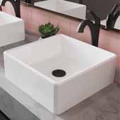 Elavo™ 15'' Square White Porcelain Ceramic Bathroom Vessel Sink and Oil Rubbed Bronze Arlo™ Faucet Combo Set with Pop-Up Drain, 15''W x 15''D x 5-1/4''H