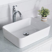 19'' Modern Rectangular White Porcelain Ceramic Bathroom Vessel Sink and Riviera™ Faucet Combo Set with Pop-Up Drain Chrome Finish 18-3/4''W x 14-1/4''D x 5-1/4''H