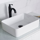 19'' Modern Rectangular White Porcelain Ceramic Bathroom Vessel Sink and Riviera™ Faucet Combo Set with Pop-Up Drain Oil Rubbed Bronze Finish 18-3/4''W x 14-1/4''D x 5-1/4''H