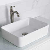 19'' Modern Rectangular White Porcelain Ceramic Bathroom Vessel Sink and Riviera™ Faucet Combo Set with Pop-Up Drain Satin Nickel Finish 18-3/4''W x 14-1/4''D x 5-1/4''H