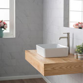 White Rectangular Ceramic Sink and Ramus Faucet, Satin Nickel