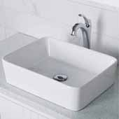 Elavo™ 19'' Modern Rectangular White Porcelain Ceramic Bathroom Vessel Sink and Chrome Arlo™ Faucet Combo Set with Pop-Up Drain, 18-3/4''W x 14-1/4''D x 5-1/4''H