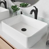 KRAUS Elavo™ 19'' Modern Rectangular White Porcelain Ceramic Bathroom Vessel Sink and Matte Black Arlo™ Faucet Combo Set with Pop-Up Drain, 18-3/4''W x 14-1/4''D x 5-1/4''H