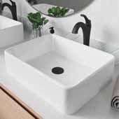 Elavo™ 19'' Modern Rectangular White Porcelain Ceramic Bathroom Vessel Sink and Oil Rubbed Bronze Arlo™ Faucet Combo Set with Pop-Up Drain, 18-3/4''W x 14-1/4''D x 5-1/4''H